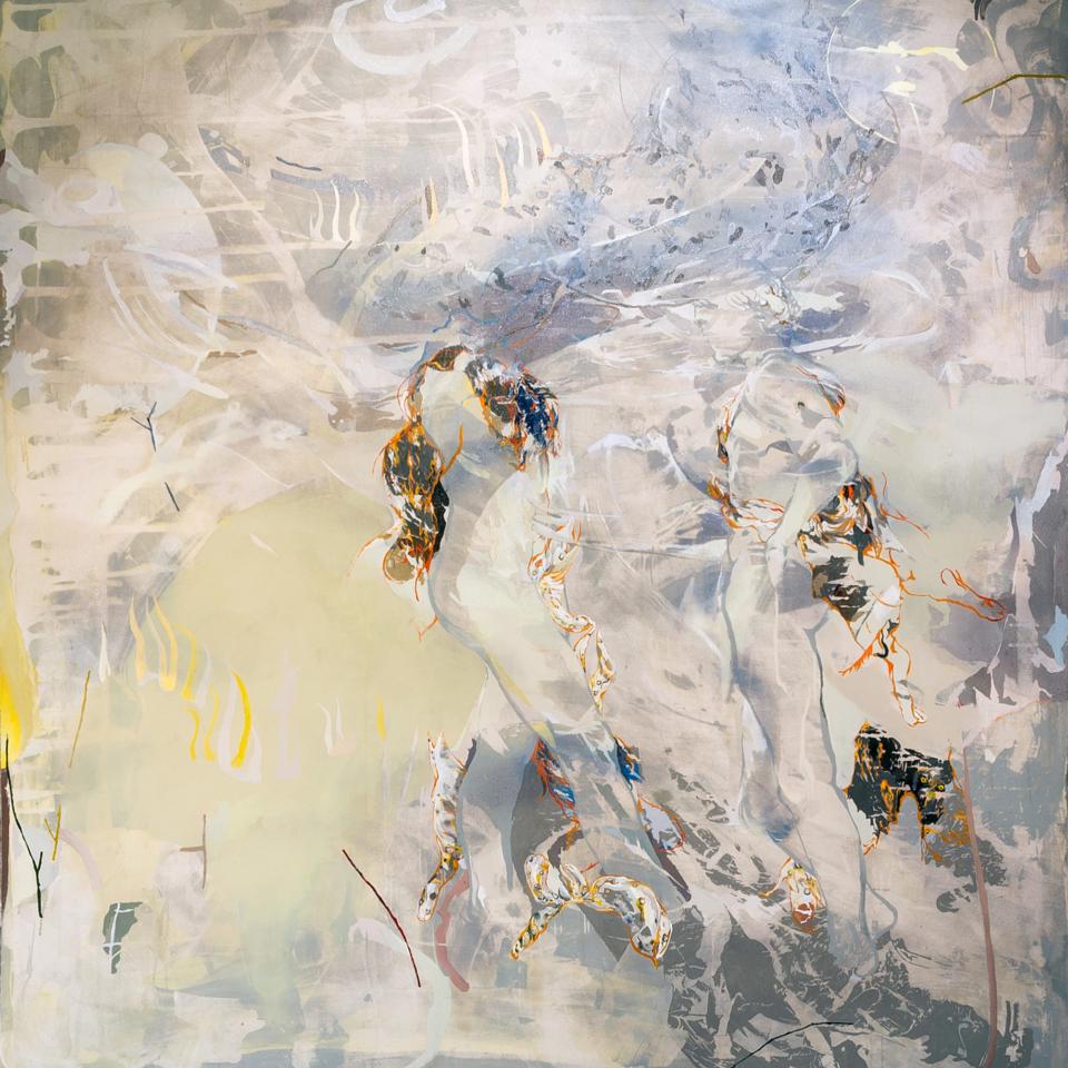 The Greetings(Vesuvio), 2019, acrilico ed olio su tela, 184,5cm x 194,5cm, Courtesy l'artista e Galleria Continua