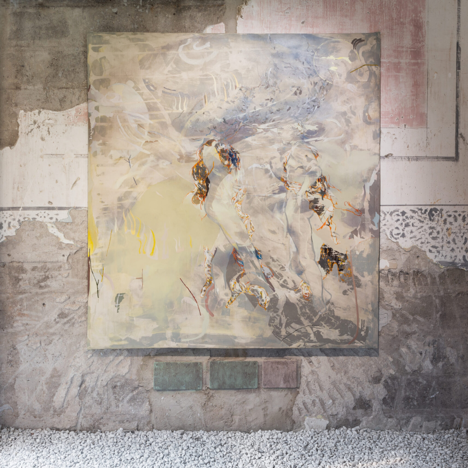 The Greetings(Vesuvio)2019, acrylic and oil on canvas, 184,5cm x 194,5cm, foto di Melania Dalle Grave e Agnese Bedini, courtesy the Artist and Galleria Continua